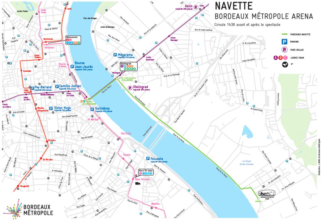 Bordeaux Métropole Arena trajets et modes de déplacement