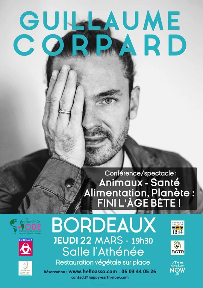 Guillaume Corpard en conférence/spectacle à Bordeaux le 22 mars 2018.