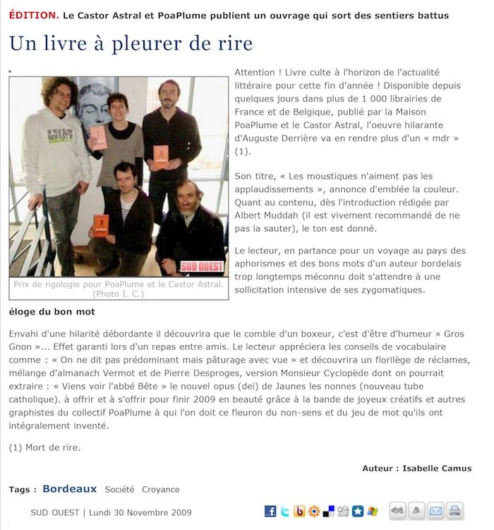Article Isabelle Camus pour Sud Ouest sur Auguste Derrière
