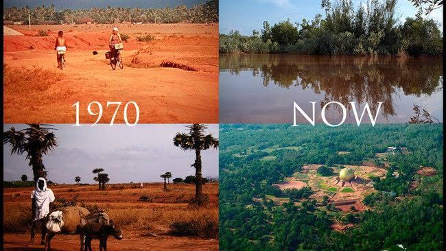 Auroville avant et maintenant
