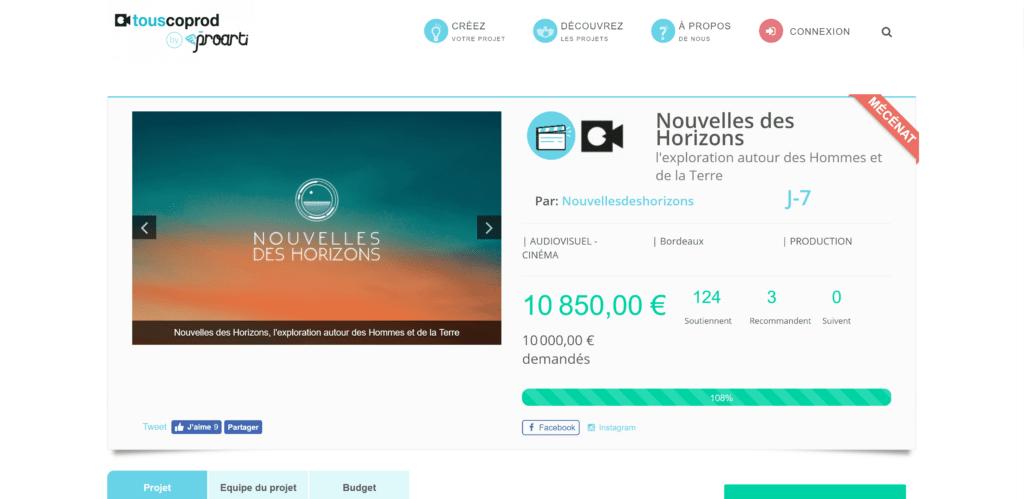 Le financement participatif pour aider le projet Nouvelles des Horizons.