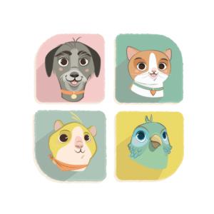 Un chien, un chat, un hamster et une perruche