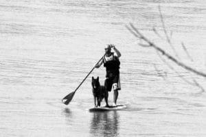 Jérome Cordoba et son chien Erkan sur la Garonne