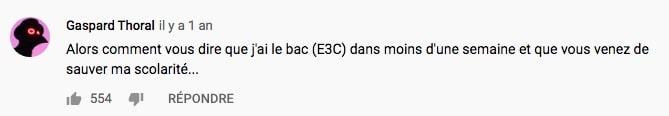 commentaire vidéo la plus vue E3C
