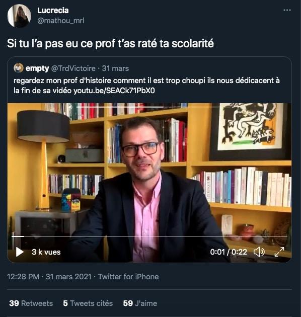 tweet Lionel Lacoux meilleur prof